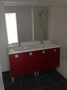 Okiban - Salle de bains : double vasque polymere bordeaux